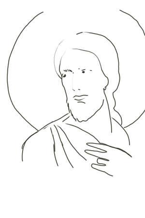 saintly: Icon. Jesus Christ. Christian.  Stock Photo