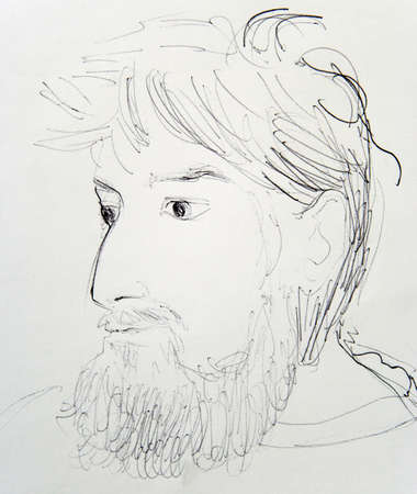 disheveled: Man with Beard: artistic hand draw. Charcoal and crayon on paper. Portrait. Not a real man but imagination. Stock Photo