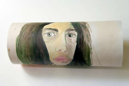 Portrait of girl, watercolor on paper photo