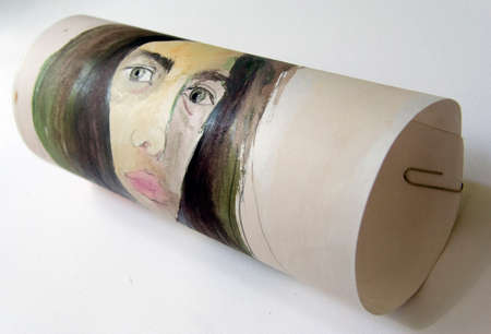 disheveled: Painting watercolor, selfportrait of artst, girl,