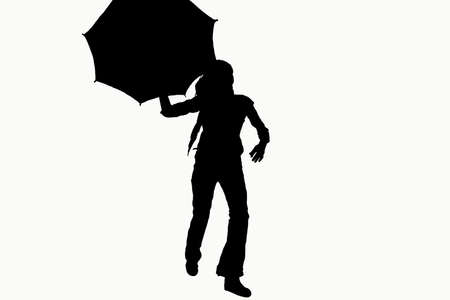 hurried: Illustration with woman silhouette running with umbrella. Stock Photo
