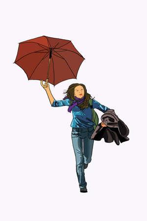Umbrella woman run, hurried, speed, active,