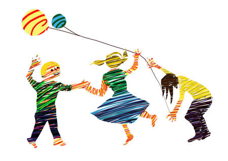 comunity: Illustration about childhood with child, play, game,