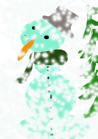 carrot tree: Tree and Snowman with carrot, muffler,  buttons and  fur cap. Stock Photo