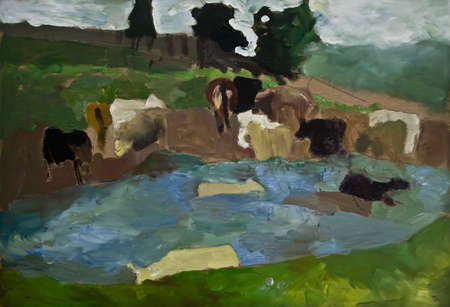 drove: Country background with  pasture, lake and  drove. Cow. Nature.