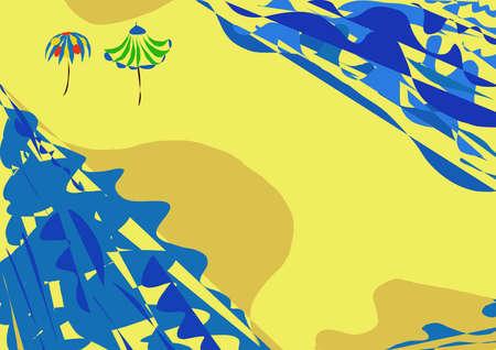 grinta: Illuastration isola con spiaggia, onde, Brolly; ombrello, sabbia, sabbia;