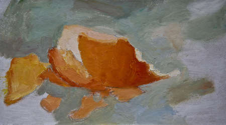 orange peel: Painting with orange peel on gray background. Fruit, still life, artistic. Stock Photo