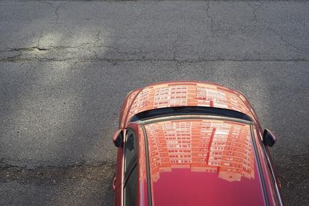 red car with reflection Фото со стока