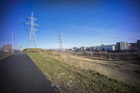 Panoramic view of Krasnoyarsk electric lines and suburb