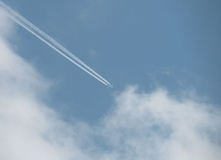 avia: trace of a plain in a sky                             Stock Photo