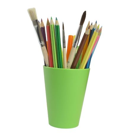pencils and brushes                                photo