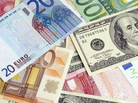 banconote euro: euro e dollari  Archivio Fotografico