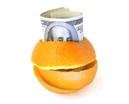 100 dollars banknotes inside orange peel Stock Photo - 6871171