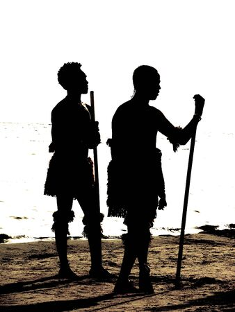 africa people: silhouette of two aborigenes
