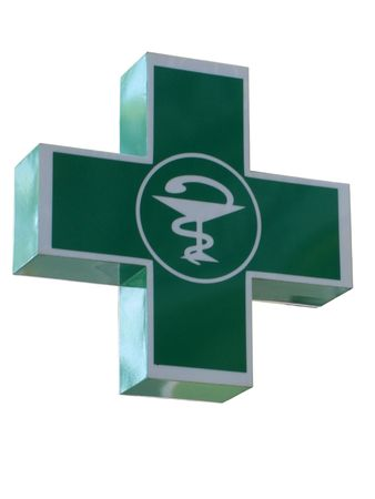 green cross: pharmacy shop sign