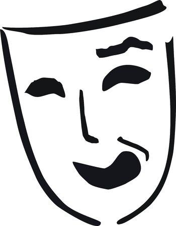 riendo de máscara de teatro