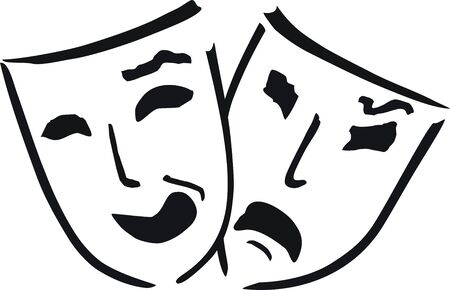 dos de máscaras de teatro  Ilustración de vector