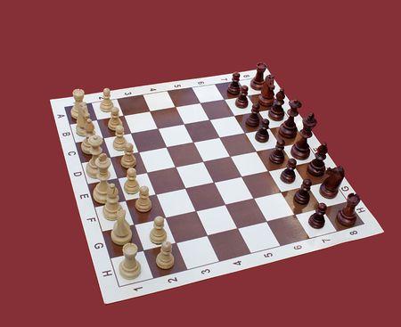 chessmen: chessboard with wooden chessmen