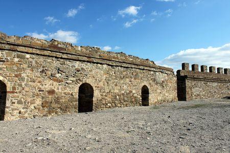sudak: wall of fortress, Sudak (Ukraine) Stock Photo