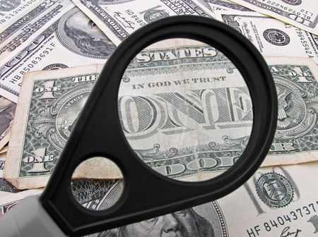 Title One on one dollar banknote through magnifying glass                                   Stock Photo - 7949968