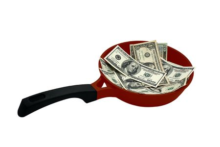 hot money: banknotes on red frying pan photo