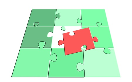 jigsaw puzzle: red part unique out of green ones photo