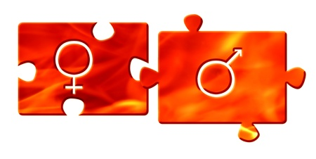 flame color jigsaw puzzle parts with gender signs Stock Photo - 8250862