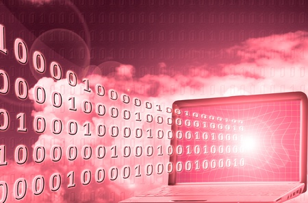 Digital world: binary code flowing from laptop Stock Photo - 8315453