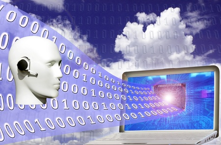 Digital world: binary code flowing from laptop Stock Photo - 8315456
