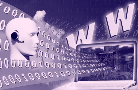 digital world: binary code floating to laptop over www inscription Stock Photo - 8315463
