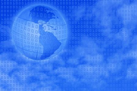 digital background: binary code over sky and globe Stock Photo - 8366682