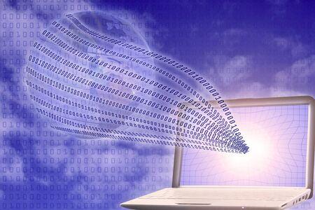 global informatization: binary code floating from laptop to globe Stock Photo - 8366686