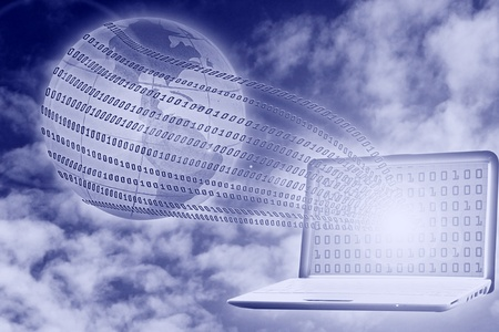 digital concept: binary code floating from laptop to globe Stock Photo - 8366684