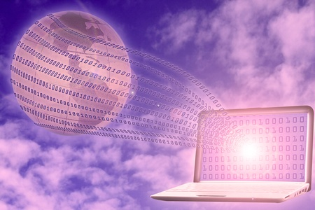 integer: internet concept: binary code floating from laptop to glob