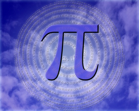 greek letter pi over sphere made of pi figures photo