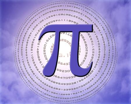 transcendental: greek letter pi over spiral made of pi figures Stock Photo