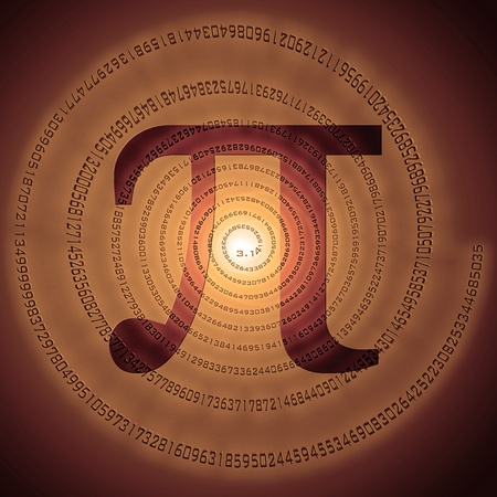 constant: greek letter pi over spiral made of pi figures Stock Photo
