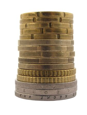 1 euro: tower made of euro cent coins over white                                    Stock Photo