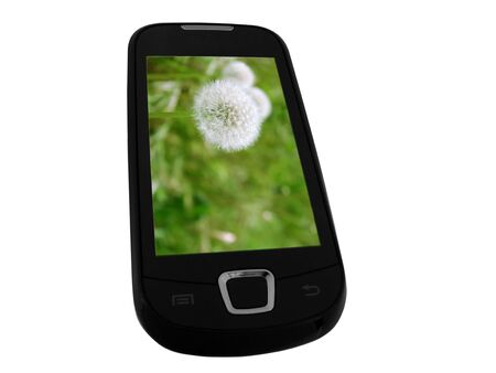 sensory mobile phone with picture of meadow Stock Photo - 8625947