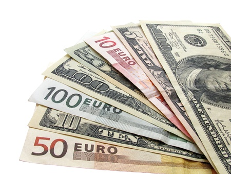 fan shaped: cash: dollars and euros
