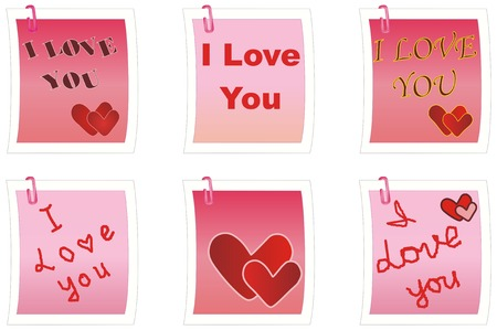 clipart: notes for Day of Valentine with message I Love You Vector