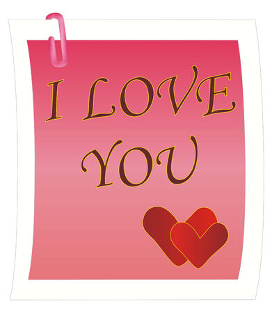 vector illustration: note with I Love You message Vector