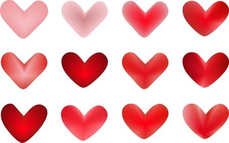 clipart of vector illustrations: 3d hearts Stock Vector - 8796144
