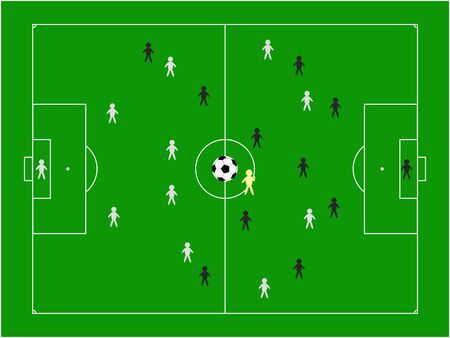 football pitch with teams vector illustration Vector