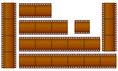 cinematograph: set of brown filmstrips  Stock Photo