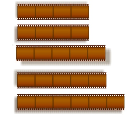 set of filmstrips with shadow photo