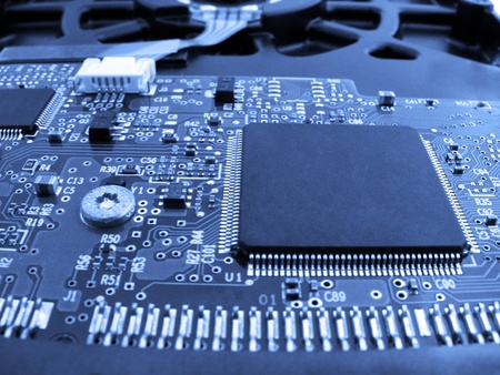 electronics: chip on a printed circuit board                         Stock Photo