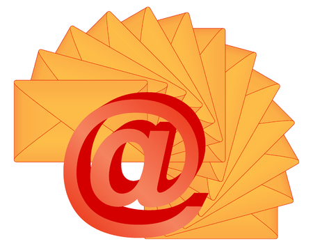3d e-mail sign over letters vector illustration Stock Vector - 8982894