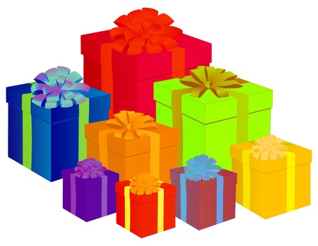 red gift box: presents vector illustration