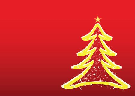 christmas tree over red Stock Vector - 9223541